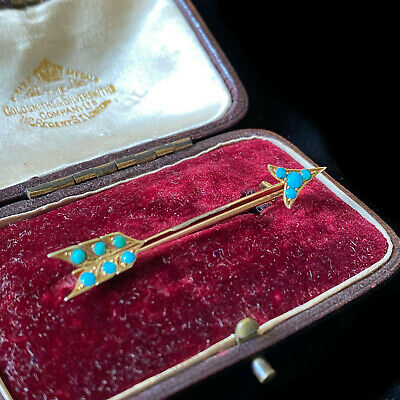 """Victorian 14ct/14k, 585 Yellow Gold Turquoise Cupids Arrow """"Love"""" Brooch in box"""