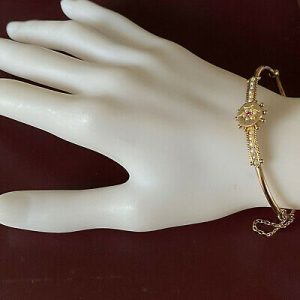 Victorian, 9ct, 9k, 375 Gold, Etruscan Ruby & Seed Pearl bangle, bracelet, C1890
