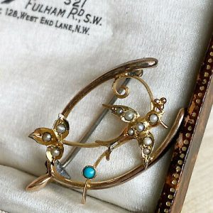 Edwardian 9ct gold Turquoise & pearl Romantic, lucky wishbone and swallow brooch