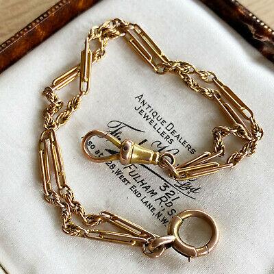 Edwardian 9ct, 9k, 375 Gold, double row, trombone & fancy link bracelet