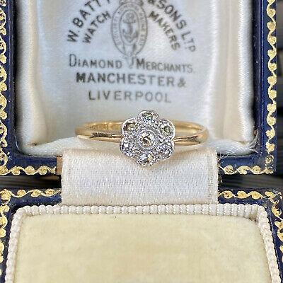 Art deco, 18ct, 18k, 750 Gold & Platinum, Diamond Daisy cluster engagement ring