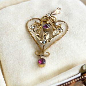 Art Nouveau 9ct, 9k, 375 Gold, Pink Paste & seed pearl heart lavaliere pendant