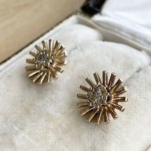 Vintage 9ct, 9k, 375 Gold and Diamond Sunburst Earrings by Maker EFC