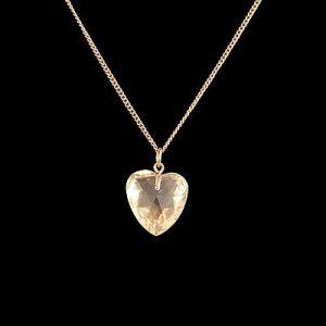 Victorian 9ct, 9k, 375 Gold Faceted Citrine heart (16x17mm) pendant, Circa 1880