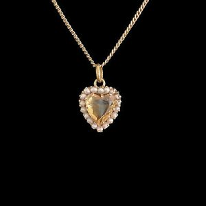Victorian 9ct, 9k, 375 Gold Faceted Citrine heart & Pearl pendant, Circa 1880