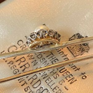 Edwardian 9ct, 9k, 375 white Gold, Pearl and old-cut diamond cluster, brooch/pin