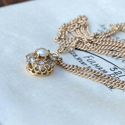 Tiny, Antique Rose-cut diamond and pearl cluster pendant, Circa 1890