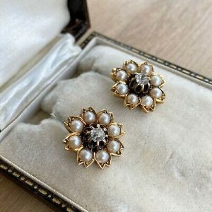 Victorian 18ct, 18k, 750 Gold Seed Pearl and Diamond Daisy cluster Earrings