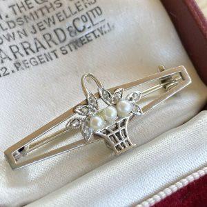 Belle Epoque 14ct, 14k, 585 Gold, Pearl & Diamond 'Giardinetti' Brooch, C1901