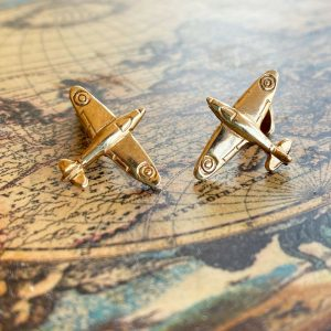 Novelty, Vintage 9ct, 9k, 375 Gold Spitfire plane cufflinks in new box, 3.6g