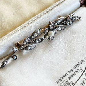 Fine, Belle Epoque 15ct, 15k, 625 Gold, Pearl & Diamond wedding Brooch, C1901