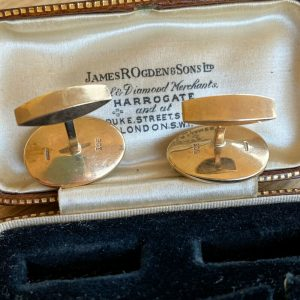 Bespoke, Vintage 9ct, 9k, 375 Gold Ormer shell cufflinks in new box, Guernsey