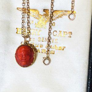 Fine Antique 18ct/18k, 750 Gold, Coral, Greek God 'Pan'pendant/charm, Circa 1880