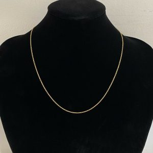 """Fine, 9ct, 9k, 375 Gold rolo link chain, length 18"""" / 43cm, weight 1.3 grams"""