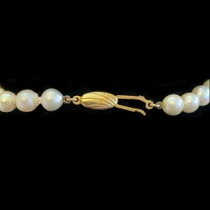 """Cultured Pearl 7.5-8mm Necklace on 9ct/9k, 375 Gold clasp, Opera length 33""""/84cm"""