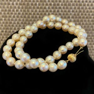 Saltwater Akoya Cultured Pearl 7 to 7.5mm Necklace on 9ct, 9k, 375 Gold clasp
