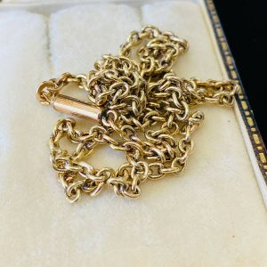 """Victorian 9ct, 9k, 375 Gold belcher link chain with barrel clasp, 17"""" / 43cm"""
