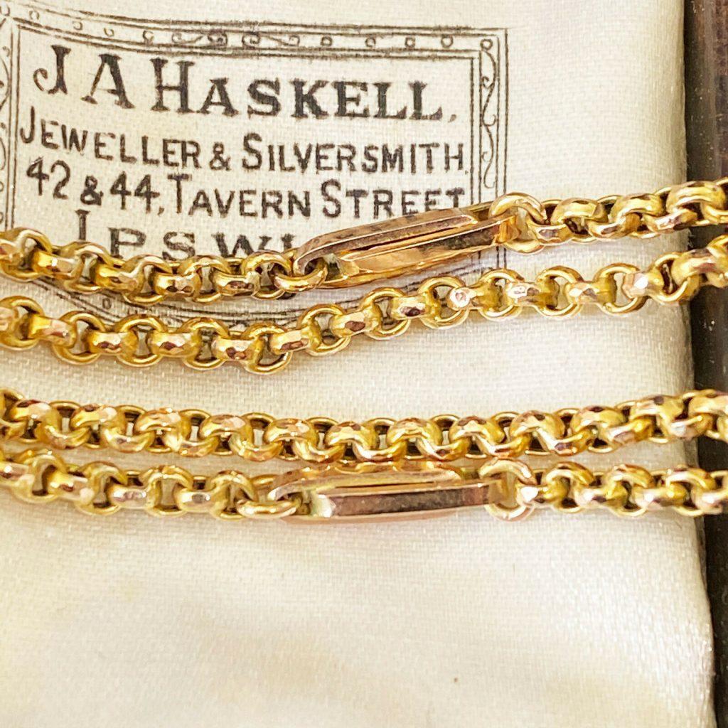 "Victorian 9ct, 9k, 375 Faceted Belcher & trombone Link Chain, Length 18"" / 46cm"