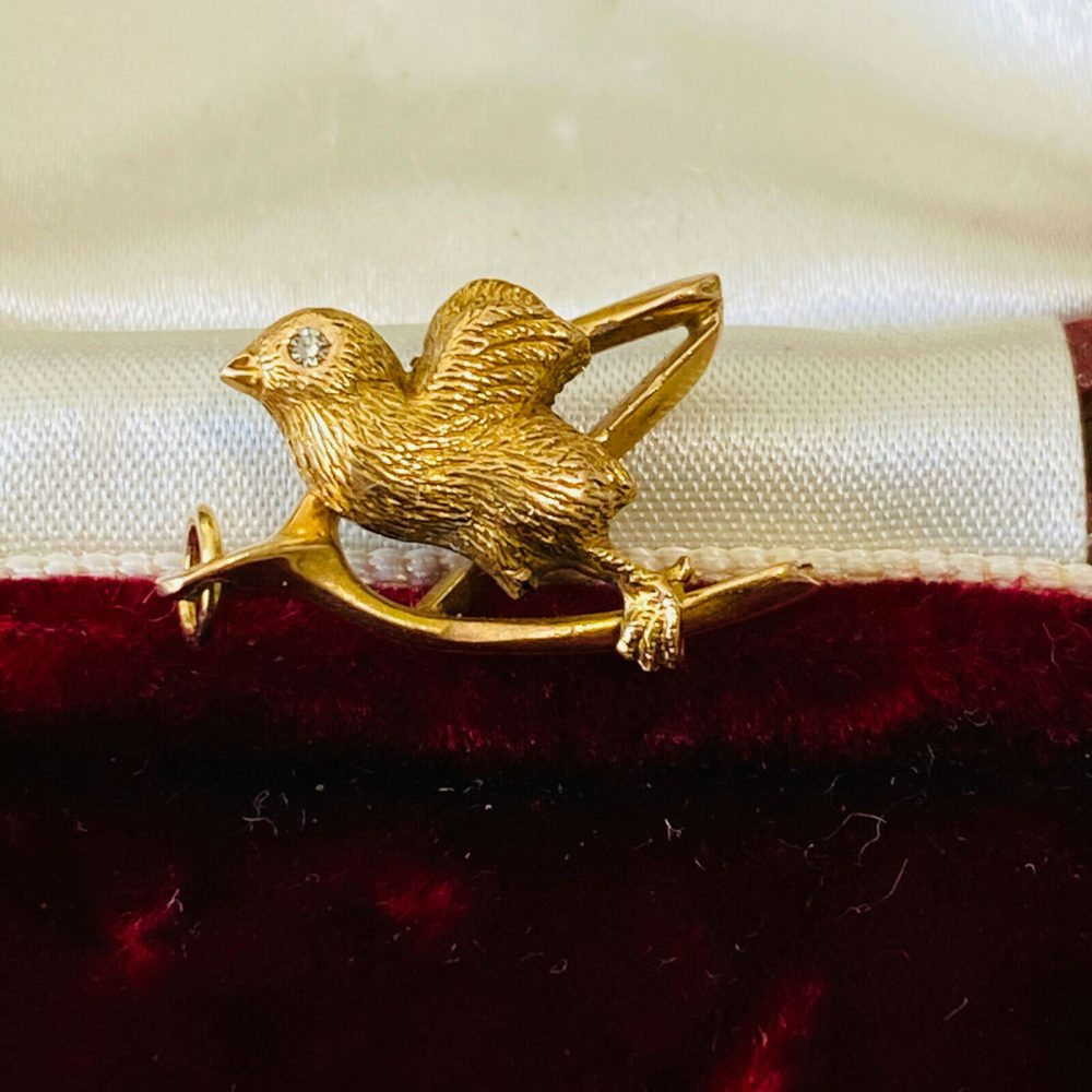 Victorian 15ct, 15k, 625 Gold & Diamond chick on wishbone charm, pendant