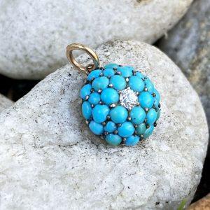 Gorgeous, Victorian pave set Turquoise and diamond pendant, Circa 1860