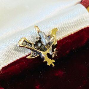 Edwardian 9ct/9k 375 Gold rose-cut diamond & enamel bird,grouse,rooster pendant