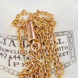 Edwardian 9ct, 9k, 375 Rose Gold belcher link Chain with barrel clasp