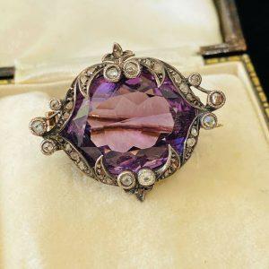 Georgian, 9ct, 9k, 375 Gold & Silver 'Rose de France' Amethyst & diamond brooch