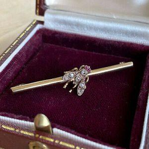 Victorian Gold, Ruby & rose-cut Diamond bug, fly, bee brooch, Circa 1890