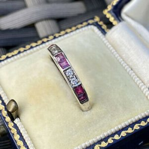 Art Deco 14ct/14k, 585 white gold, Ruby & Diamond (0.46ct) half eternity ring