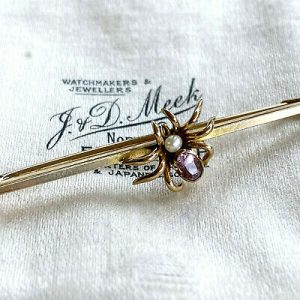 Edwardian 9ct, 9k, 375 Gold Pearl & Tourmaline Spider, insect brooch, pin. C1901