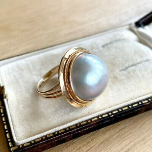 Fabulous Statement ring featuring a Mabe Pearl mounted in 14carat gold. C1980