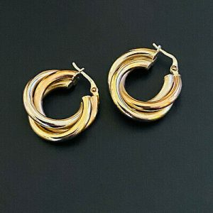 Gorgeous pair of 9ct, 9k, 375 tri-colour Gold, hoop Earrings, 23.5mm