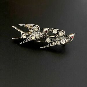 Antique Victorian Silver black dot paste twin flying swallows/birds brooch C1890