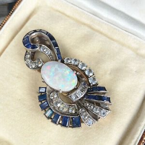 Gorgeous, Art Deco Rose Gold & Silver Opal and Sapphire dress clip, brooch