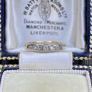 18ct Gold & Platinum Diamond 7 stone half eternity, anniversary, wedding ring