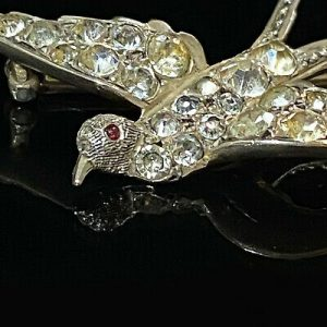 Victorian Silver black dot paste flying swallow, swift, bird, brooch, pin, C1860