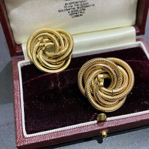 Fabulous 9ct/9k 375 Gold, very Large knot Earrings, Width: 29mm fully hallmarked