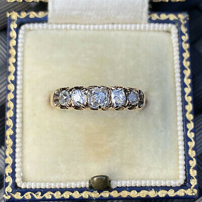 Victorian 18ct Gold, Diamond 0.90ct five stone carved hoop ring, Circa 1900