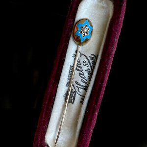 Victorian 18ct Gold Guilloche Enamel & Pearl star, Stick, tie, cravat, lapel pin