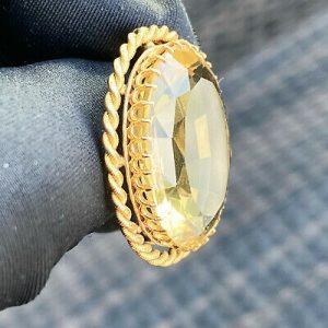 Exceptional, Antique, Victorian 18ct, 18k, 750 Gold Citrine 25.00ct Brooch C1880