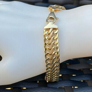 Vintage, 9ct, 9k, 375 Gold, double curb link bracelet with lobster clasp fitting