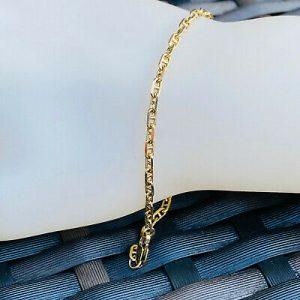 "Pretty, Vintage, 9ct, 9k, 375 Gold anchor link bracelet, Length 7.5 "" / 19.5cm"