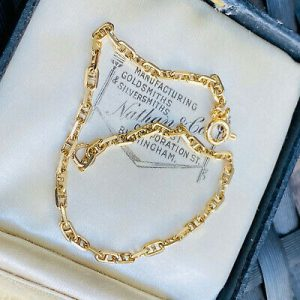 """Vintage, 9ct, 9k, 375 Gold anchor link bracelet, London 1993. length 7.5 """" / 19."""
