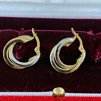 Gorgeous pair of 9ct/9k, 375 two-tone Gold hoop Earrings, 14mm fully hallmarked