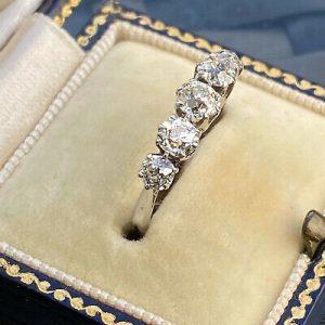 Stunning, Art Deco Platinum PT950 old-cut Diamond 1.52ct five stone ring, C1920