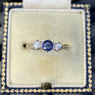 Art Deco 18ct, 18k, 750 Gold, Sapphire & Diamond 0.45ct trilogy engagement ring