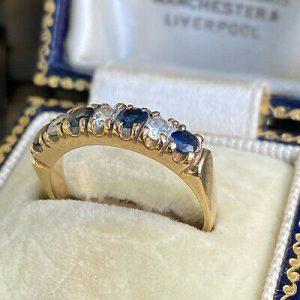 Vintage 9ct, 9k, 375 Gold Sapphire & CZ half eternity, anniversary ring