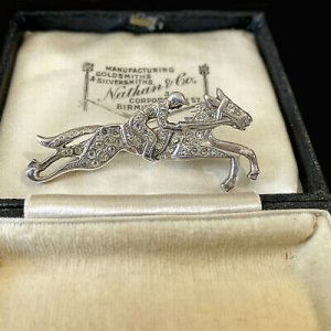 English, Vintage Sterling Silver Paste racing horse, brooch, pin. Hallmarked 925