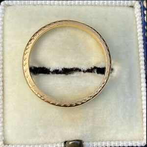 Art Deco 22ct, 22k, 980 solid yellow gold court shaped, wedding ring/band