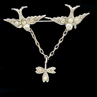 Victorian Silver black dot paste twin flying swallows, birds, brooch. Circa 1860